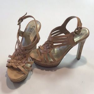 Guess size 6 tan platform heels shoes strappy